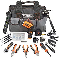 VERSATILE HOUSEHOLD KIT – includes 3.6V Li-Ion cordless screwdriver with accessories, as well as comprehensive 92-piece hand tool kit – everything you need to complete household DIY projects CORDLESS SCREWDRIVER – features a twistable handle, automat...