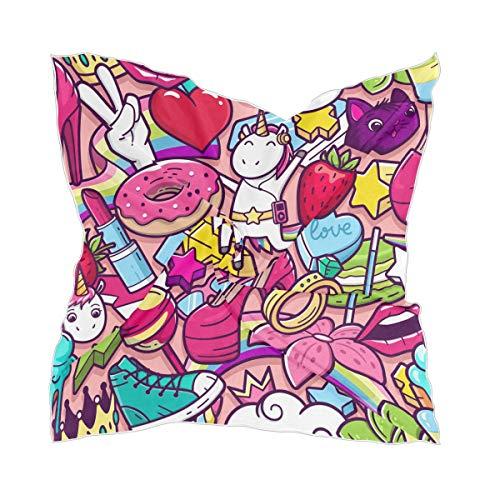 Dames Headpiece Sheer Silk sjaal hoofddoek schattig cartoon World Seamless patroon eenhoorn halsdoek chiffon