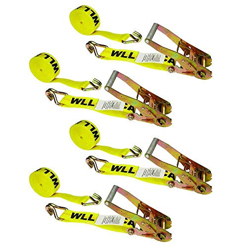 US Cargo Control 2 Inch x 12 Foot Yellow Ratchet Strap with Double J Hooks 4 Pack (Orange Ratchet)