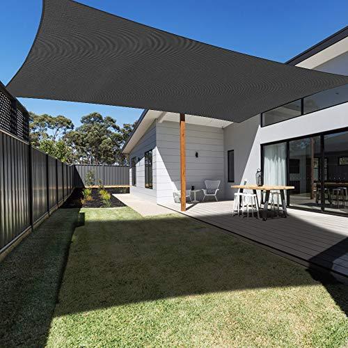 Ankuka Voile d'ombrage Rectangulaire 3x4M, Toile Auvent Imperméable UV Protection pour Jardin Terrasse Extérieur Patio Piscine avec Corde Libre (Noir)
