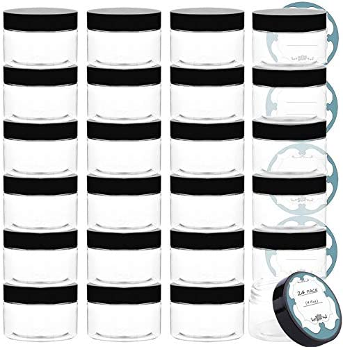 Qeirudu 4 Oz Plastic Jars with Lids 24 Pack Empty Clear Plastic Containers with Lids and labels product image