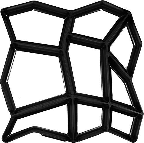 VOREL Pflasterform Naturstein, mit 19 Kammern, 43 x 42,5 x 4 cm, stabiles und langlebiges PP-Material für den häufigen Gebrauch, Pflaster Schablone Gießform Gehweg Form Beton Steine