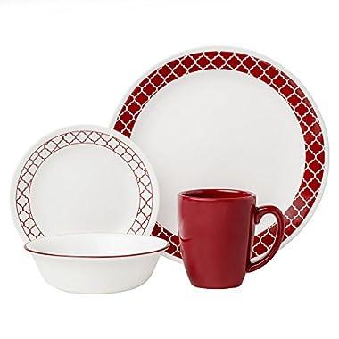 Corelle 16 Piece Crimson Trellis Livingware Dinnerware Set, White