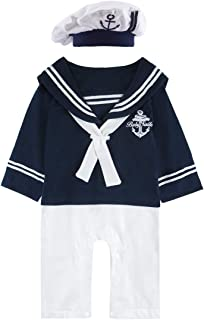 COSLAND Baby Boys' 2 Pieces Sailor Romper Outfit