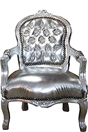 Casa-Padrino Baroque highchair silver leather look Silver Armchair