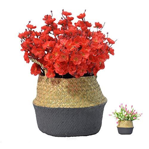 Cestas Plegables de Algas Marinas Tejidas a Mano para almacenar cestas de Plantas, cestas de Flores, cestas de lavandaria, cestas de revistas y cestas de comestibles (pequeñas, Negras)