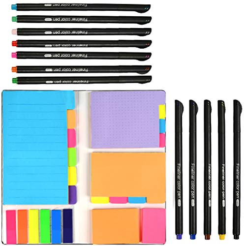 YOTINO 426 Pcs Colored Divider Sticky Notes Set with Fineliner Color Pens, Sticky Page Markers Prioritize Coding Sticky Divider Tabs for Planner, Bullet Journaling Writing, Note Taking Calendar