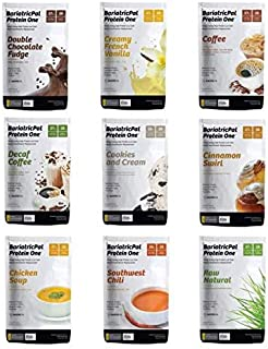 BariatricPal Protein ONE: MultiVitamin, Calcium, Iron, Fiber & Meal Replacement Single Serving Packet - 9 Flavor Variety Pack