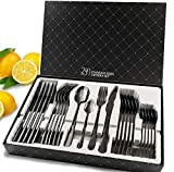 Cutlery Set, HOBO Black 24 Piece...