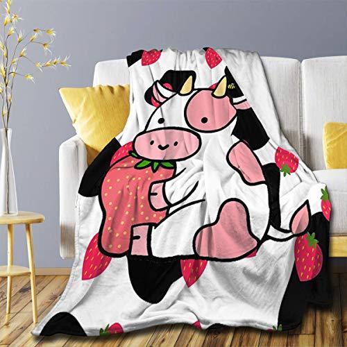 Manta de franela de vaca, de fresa, ultra suave, ligera, de lujo, para sofá, dormitorio, uso en todas las estaciones, tamaño mediano, 152 x 127 cm para adolescentes