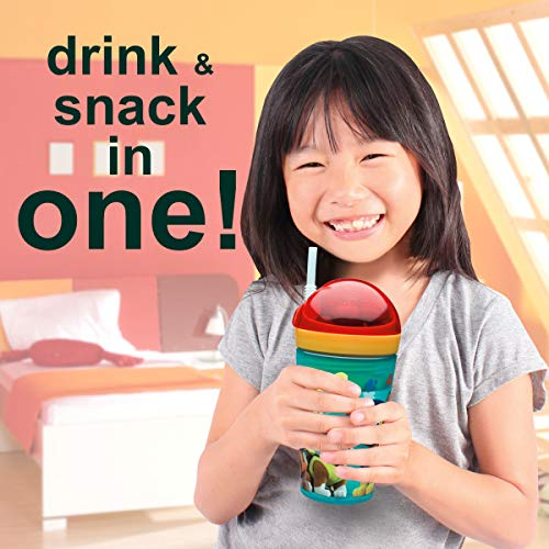 Zak Designs Peppa Pig ZakSnak All-In-One Drink Tumbler + Snack Container For Toddlers – Spill-proof 4oz Snack Container Screws Securely Onto 10oz Tumbler With Accessible Straw, Peppa Pig