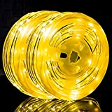 StillCool Rope Lights 2pcs 49ft Battery Operated String Lights 8 Modes Outdoor Waterproof Fairy Lights Dimmable/Timer with Remote for Wedding Patio Garden Party Halloween Christmas Decor