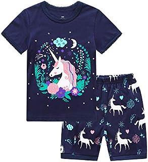 RKOIAN Little Girls' Short Pajamas Sets Toddler PJS Cotton Kids Sleepwears