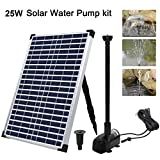 ECO-WORTHY Solar Fountain Water Pump Kit 20 W, 360GPH Submersible Powered Pump and 25 Watt Solar Panel for Sun Powered Fountain, Fish Pond, Pond Aeration, Hydroponics, Garden Decoration, Aquaculture…