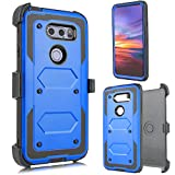 for LG V30, LG V30 Plus, V30S 2017 (Sprint, Verizon, T-Mobile etc) Full Body Armor Rugged Holster Defender Hybrid Case with Built in Screen Protector & 360 Swivel Belt Clip (Blue)