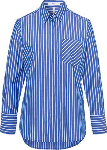 BRAX Damen Style Victoria Hemdbluse Mit Streifen Bluse, Olympic Blue, 44