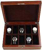 NBVCX Inicio Accesorios Tapa de Vidrio Caja de exhibición de Reloj de 10 Relojes Caja organizadora de Almacenamiento de Joyas con 10 Almohadas de Almacenamiento de extracción para Hombres/Mujeres