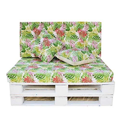 TIENDA EURASIA Cojín para Palet 4 Piezas - Diseños Tropicales - Funda de Tela Lavable y Relleno de Espuma de 11 cm - Ideal para Terraza y Jardín (Tropical 2)