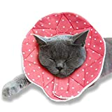SunGrow Cat Recovery Cone, Soft Comfortable Neck Pillow, for Speedy Neuter or After Surgery, No More Cone of Shame, Polka Dot Design, Pink Color, Fits All Pets with 9-10.5 Neck Circumference, M Size