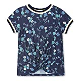 Speechless Big Girls Sporty Twist Front T-Shirt, Navy Teal Floral, M
