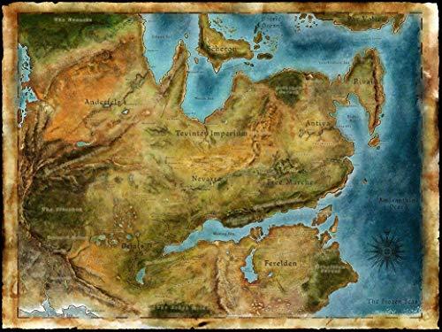 NewBrightBase Thedas Map Dragon Age Fabric Cloth Rolled Wall Poster Print 32x24
