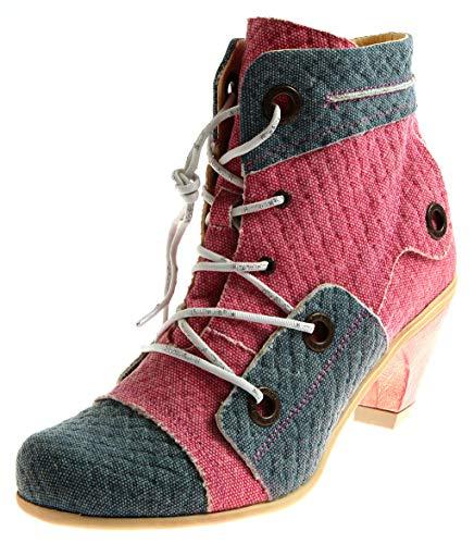 Eject Sara Heel 14890 Damen Stiefeletten Lederschuhe Schuhe Leder Canvas Sommer Mehrfarbig EU 41