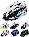 meteor Cascos Casco Bicicleta Casco Helmet Casco Bici Casco Bicicleta Adulto Skate Ciclismo Bicicleta Patineta Patines Monopatines Bici Accesorios Casco Gruver (S (52-56 cm), Blanco/Negro/Azul)
