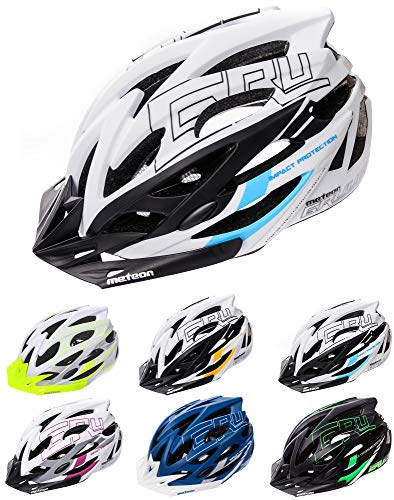 Meteor Casco Bici Ideale per Giovani e Adulti Caschi Perfetto per Downhill Enduro Ciclismo MTB Scooter Ideale per Tutte Le Forme di attività in Bicicletta Gruver (S(52-56 cm), Bianco/Nero/Blu)