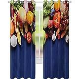 Cortinas con aislamiento térmico, frutas y verduras orgánicas frescas en mesa de madera azul opciones veganas naturales, 52 x 108 ancho cortina de oscurecimiento para sala de estar, multicolor