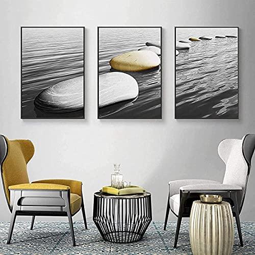 Print Kunstwerk Nordic Wandkunst Canvas Decoratie Abstract Steenschilderij Zwart-Wit Muurkunst Poster en Prints…