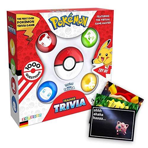 Lively Moments Pokemon Trainer Trivia - Elektronisches Pokemon Wissensspiel mit 1000 Fragen und Exklusive GRATIS Grußkarte