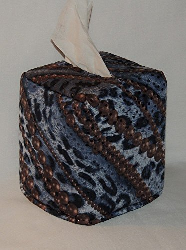 """FREE SHIPPING! 5"""" x 5"""" x 6"""" Tissue Box Cover. Brown Pearls on Blue Animal Print Cotton. Fabric is Fully Lined. Hand Made."""