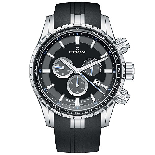 Edox Men's Grand Ocean 45mm Rubber Band Swiss Quartz Watch 10226 3CA NBUN