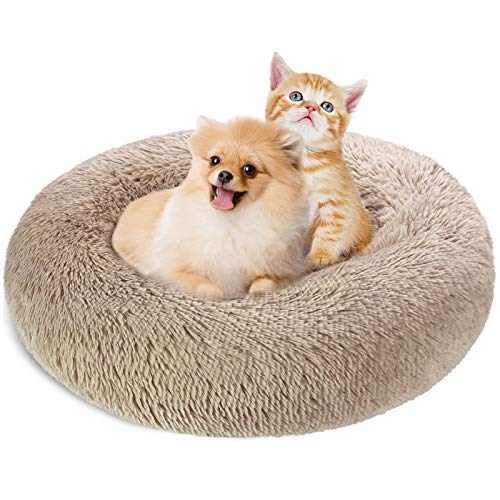 KROSER Hundebett Rundes Plüsch Katzenbett Weiches Waschbares Welpenbett Schöne Tierbett für klein Hund und Katzen Deluxe Haustierbett 60cm-Hellbraun MEHRWEG