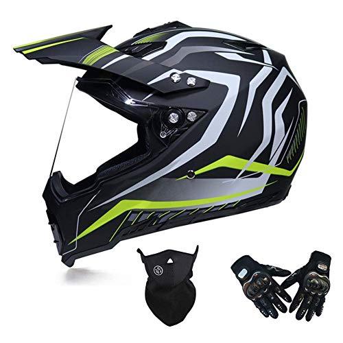 Jidesheying Motocross-Set, Helm/Handschuhe/Maske, Motocross Helm mit Visier, Erwachsene Motorrad Crosshelm vollen Gesichts-MTB Motorrad-Sturzhelm Off Road-Schutzausrüstung, Schwarz und Gelb