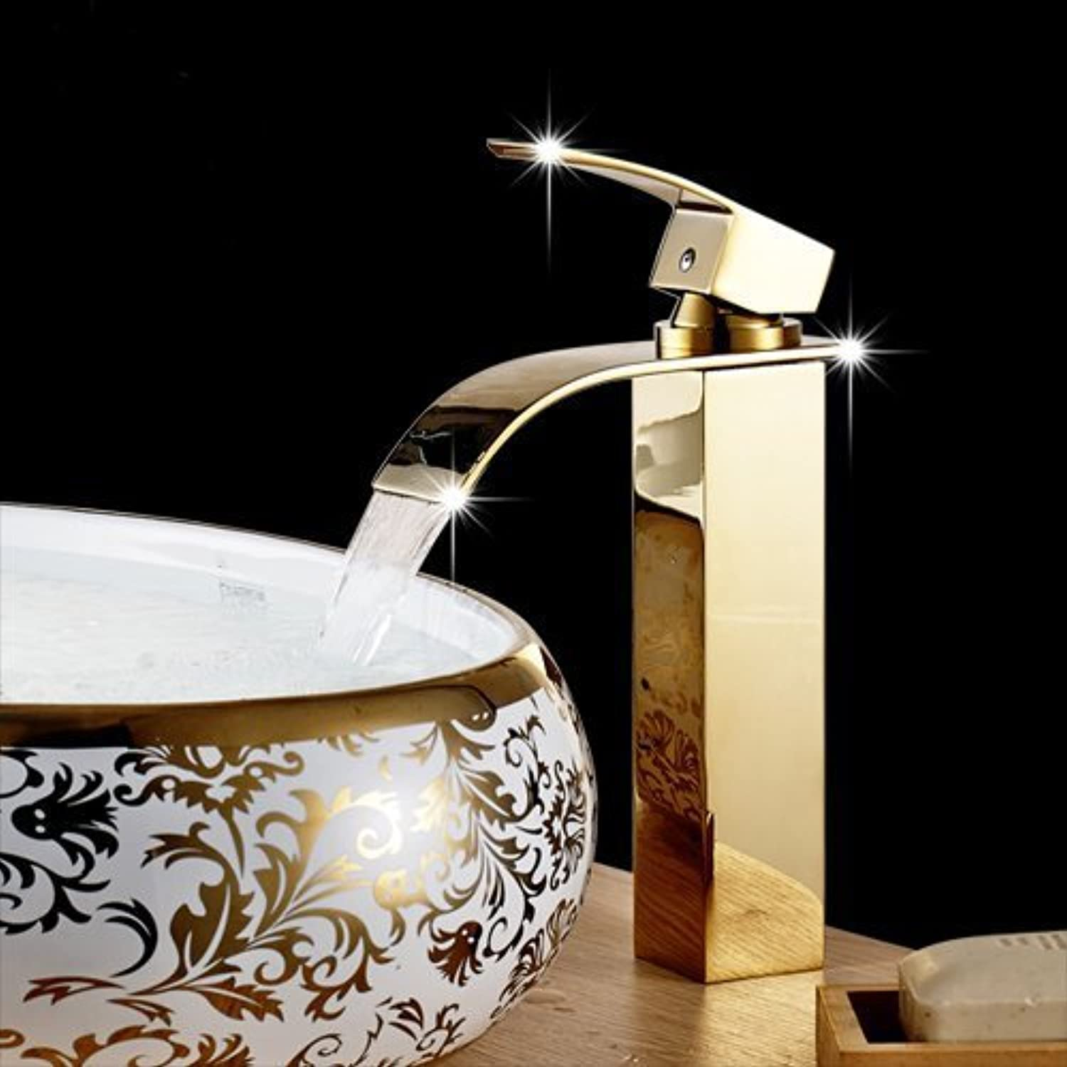 U-Enjoy High Waterfall Faucet Top Quality Hot and Cold Device Faucet Polished golden Chrome Bathroom Sink Mixer Tap Waterfall Tap (White)