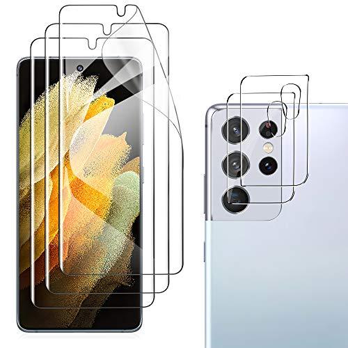 GEEMAI Pellicola Protettiva Compatibile con Samsung Galaxy S21 Ultra 3 Pezzi/Vetro Temperato Pellicola Fotocamera 2 Pezzi, Pellicola Protettiva Morbida HD Compatibile con Galaxy S21 Ultra 5G.