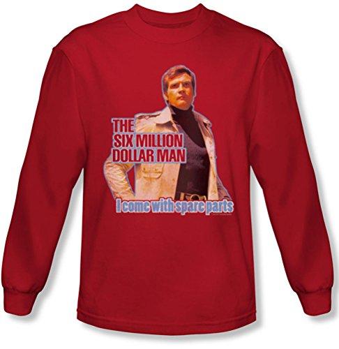 Six Million Dollar Man - - Pièces de rechange chemise à manches longues pour homme en rouge, Medium, Red