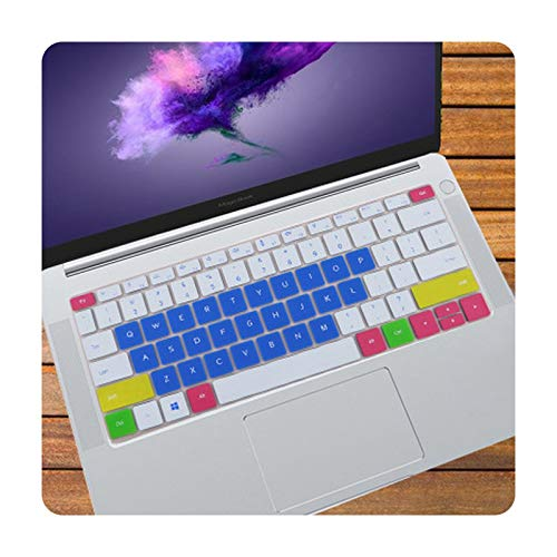 2019 R7/R5 / Magic book KPL-W00 - Funda protectora de silicona para teclado portátil Huawei MateBook 13 / MagicBook 14 - color azul