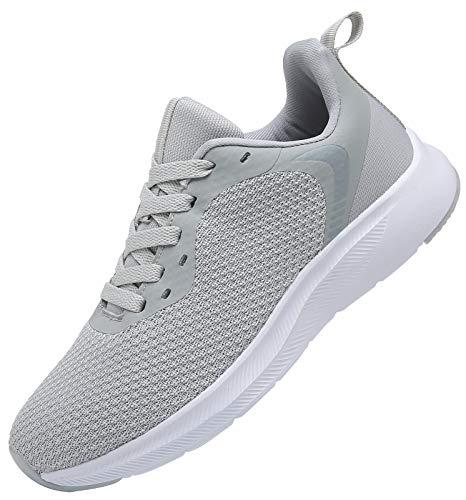 DAFENP Zapatillas Running de Deportivas para Hombre Mujer Gimnasio Sneakers Comodos Deportes Calzado Ligero Transpirable XZ725-Grey-EU36