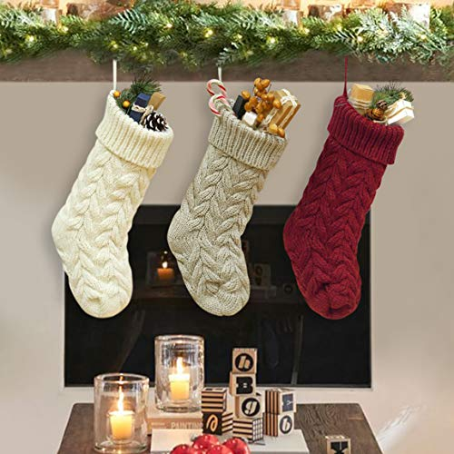 """Dailybella 3 Pack Classic Christmas Knit Stockings 14"""" Christmas Holiday Hanging Stocking Decorations White Red and Grey (Multicolor, Length 18"""")"""