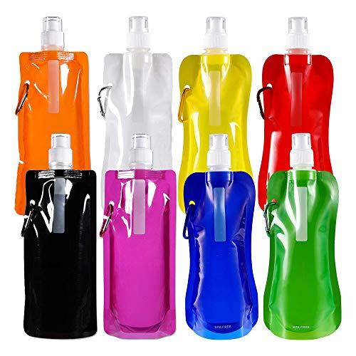 WeyTy Faltbare Wasserflasche mit Karabiner, Wiederverwendbare Wasserflasche/leicht/auslaufsicher/ungiftig/tragbare Falten Wasser Tasche für Outdoor-Sportarten Reiten Wandern 8 Farben 8 Stück (Rot)