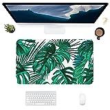 HUBNYO Palm LeafLeather - Alfombrilla de escritorio de oficina para ratón, superficie lisa, fácil de limpiar, resistente al agua, protector de escritorio para la oficina/el hogar