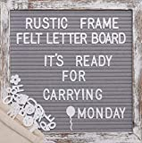 Awefrank Letter Board 10x10 inches with Precut Letters, Rustic Wood Frame, Symbols, Cursive Words, Farmhouse Wall Decor, 2 Letter Bags, Vintage Stand, Gray Announcement Board