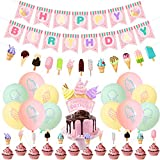 PRATYUS Ice Cream Birthday Party Decorations for Kids Boys Girls Sweet Ice Cream Themed Party Supplies Favors With Banner, Cake Toppers and Latex Balloons