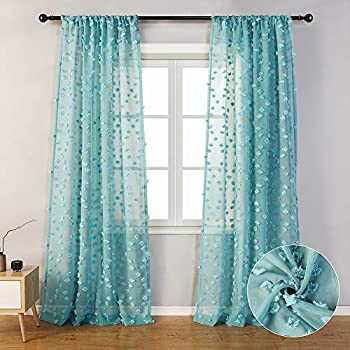 MYSKY HOME Teal Sheer Curtains 84 Inches Long Rod Pocket Voile Semi Sheer Curtains with Pom Pom for Nursery  2 Panels 54  x 84  Teal