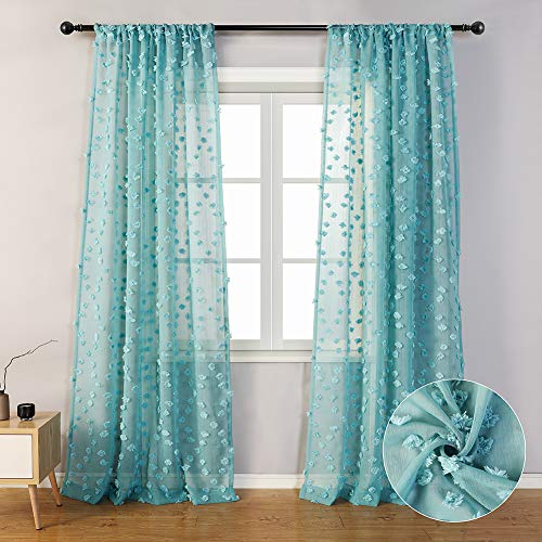 """MYSKY HOME Teal Sheer Curtains 84 Inches Long Rod Pocket Voile Semi Sheer Curtains with Pom Pom for Nursery (2 Panels, 54"""" x 84"""", Teal)"""