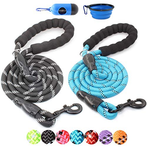 BAAPET 2 Packs 5 FT Strong Dog Leash with Comfortable Padded Handle and Highly Reflective Threads Dog Leashes for Medium and Large Dogs (Black+Blue)