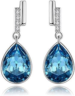 Sterling Silver Stud Earring Hoop Earrings Women Girls Elements Flashing Shape S925 Silver and Blue Crystal for Women's