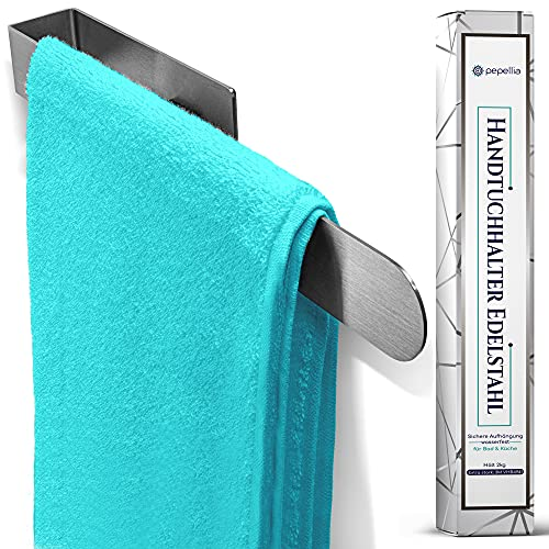 PEPELLIA Toallero sin agujeros [adhesivo 3M 4941] – Soporte para toallas de acero inoxidable para baño y cocina de 37 cm – toallero autoadhesivo – sellado contra el agua – toallero sin agujeros